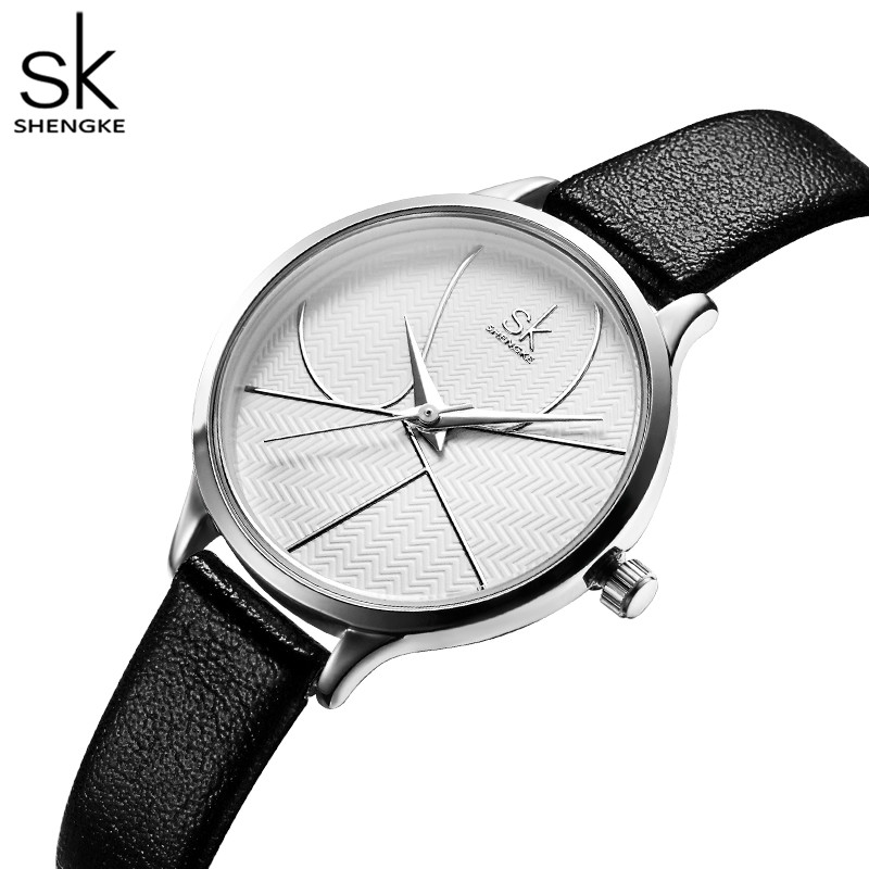 Shengke Simple Women Watches Ladies Creative Minimalism Leather Quartz Women Watch Female Clock Relogio Feminino Zegarek Damski