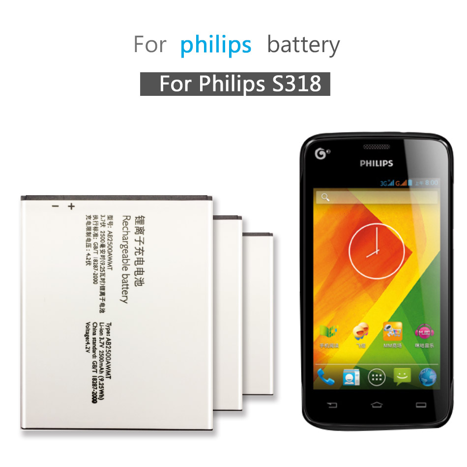Original AB2500AWMT Battery For Philips S318 CTS318 Cellphone AB2500AWMT for XENIUM Smart Mobile 2500mAh