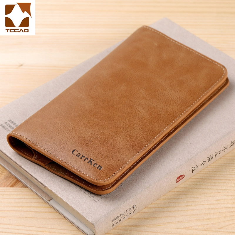 Wax Oil Skin Wallet Men Long Vintage Portafoglio Uomo Thin Simple Men's Purse Carteras Hombre Billetera Wallet Nature Leather