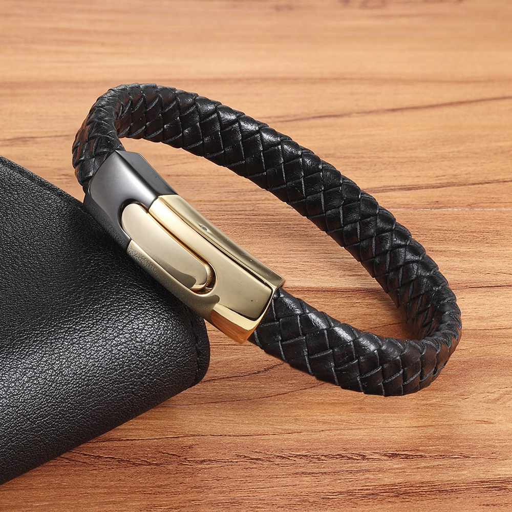 Hand-woven Leather With Multi-color Accessories Combined Stainless Steel Button Men's Leather Bracelet As 11.11 Standard Gift