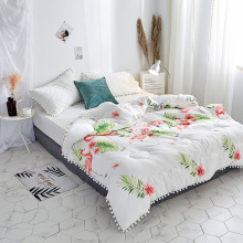 New Patchwork Quilted Thicken Comforter Winter Comforter Washed Cotton Edredon Bedding Winter Duvet with Stuffing White Grey 1pc