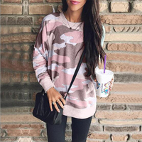 Camouflage printed round neck long sleeve blouse sweatshirt Kawaii sweatshirt long sleeve women's spring and autumn hot sale