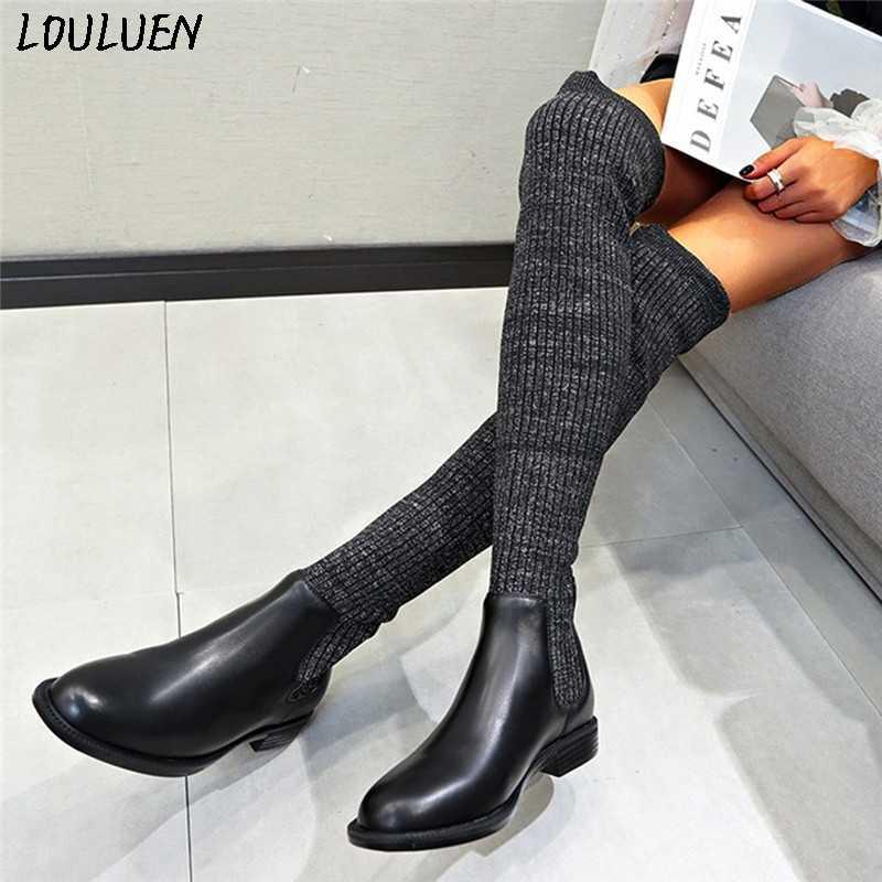 Louluen 2019 Giày Nữ Thời Trang Nữ Thấp Trơn Trượt Trên Ấm Dệt Kim Trên Kneeth Mùa Đông Dài Giày Tặng La Mã Laarzen bottes Mujer