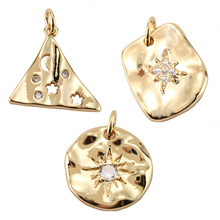 Charms Necklace Earrings Geometric-Accessories Making-Supplies Cz-Zircon Metal Copper