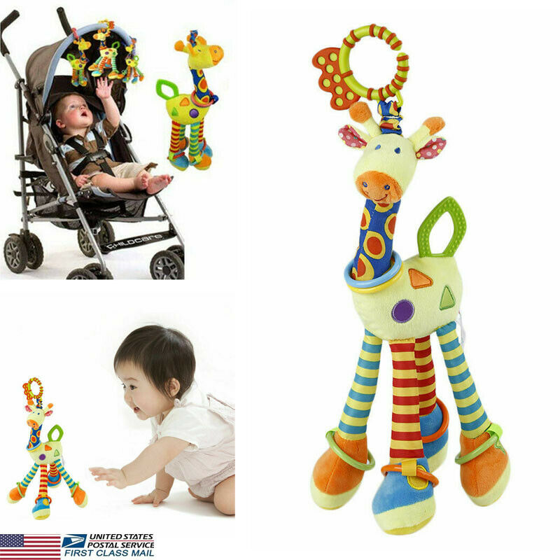 Baby Pram Bed Bells Soft Giraffe Hanging Toy Animal Handbells Rattles Funny Educational Mobiles Toys Hand Bell Rattle Hot