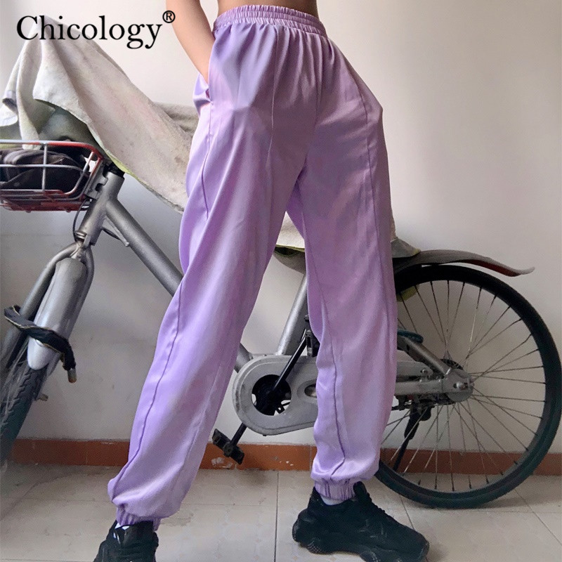 Chicology Neon Pocket Streetwear Cargo Pants Baggy High Waist Long Trousers Women 2019 Autumn Winter Clothes Female Sexy Casual