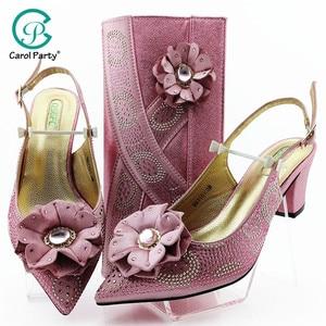 Image 1 - Cor de rosa grande cristal senhora africana sandálias com correspondência sacos italianos mulher apontou toe sapatos e saco para combinar para a festa