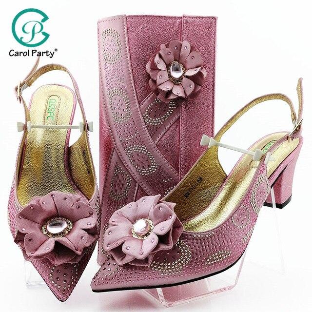 Cor de rosa grande cristal senhora africana sandálias com correspondência sacos italianos mulher apontou toe sapatos e saco para combinar para a festa