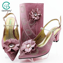 Pink Color Big Crystal African Lady Sandals with Matching Bags Italian Women Pointed Toe Shoes and Bag To Match for Party