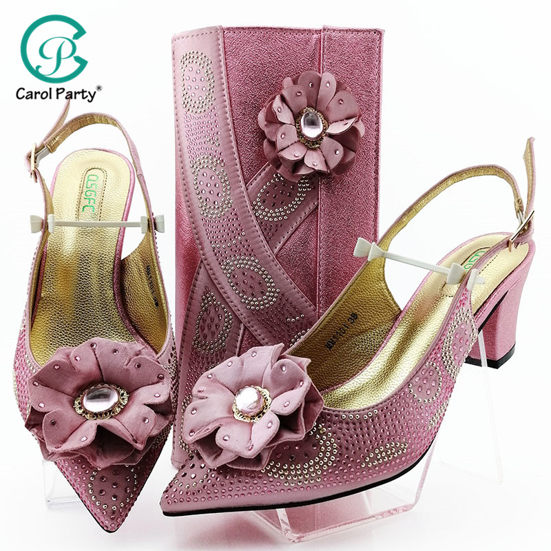 Pink Shoes And Bag African Sets Italian Lady Shoes With Matching Bags Nigerian Women Shoes And Bag To Match For Party