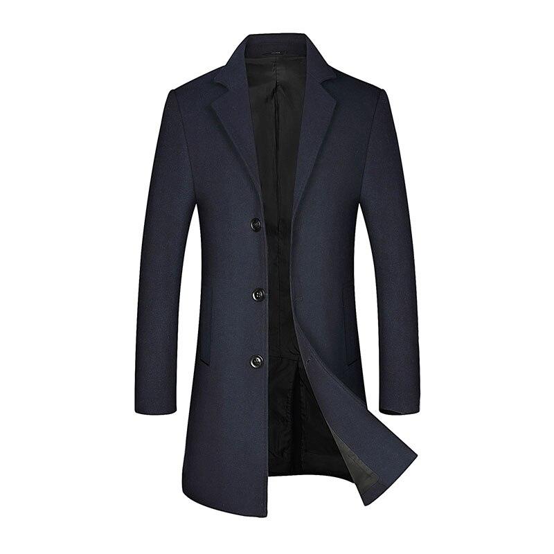 New Men's Wool Pea Coat Winter Male Casual Business Long Wool Coat Men Wool Trench Coat Brand Overcoat Clothing