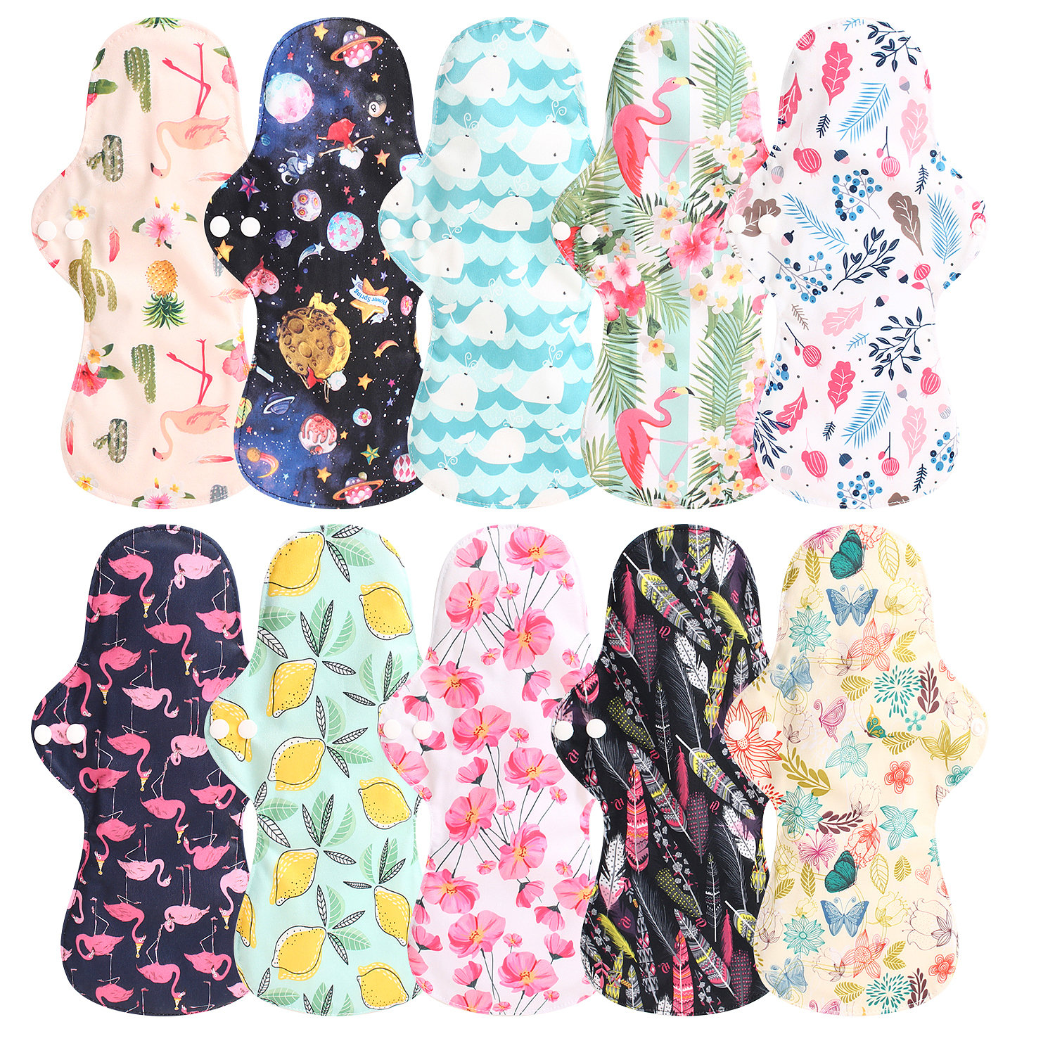 13'' Flamingo Printed Night Use Reusable Menstrual Pads Bamboo Cloth Pads Washable Mama Sanitary Towel Pads For Night Use