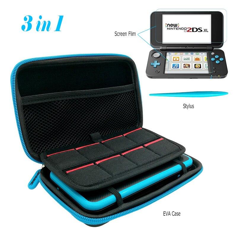 Сумка для хранения EVA, 2 Защитные пленки для экрана и 1 Стилус для Nintendo New 2DSLL/XL, чехол для переноски, дорожная сумка, слоты для игровых карт, 3 в 1 ...