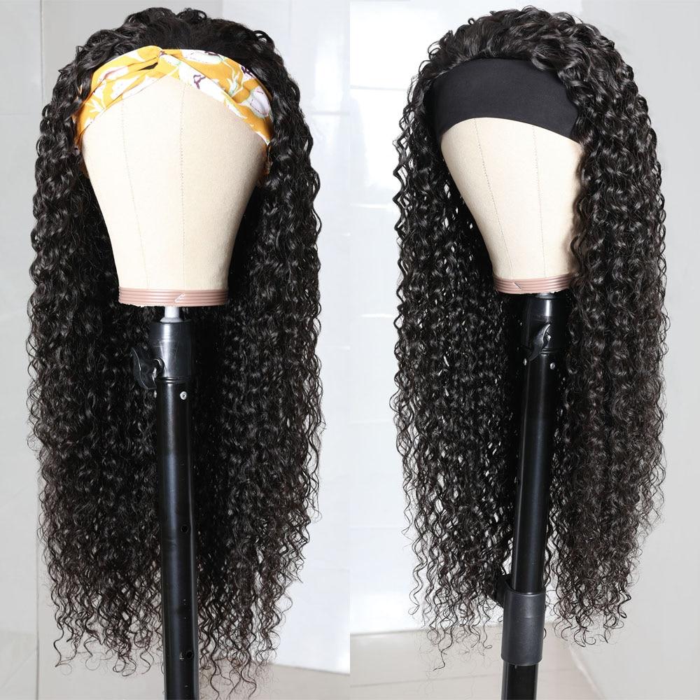 Julia Malaysian Curly Headband Wig Human Hair 14-26 Virgin Hair Scarf Wig Easy to Install Jerry Curl Hair Wig with Headband (4)