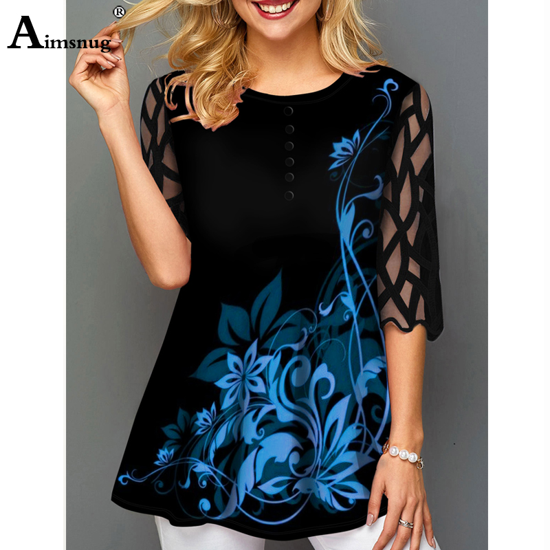 H941634328a2d470f84d94a2ae225099fg - O-neck Hollow out Sleeve Tops Single-breasted Tee Shirt Plus size Female T-Shirt Loose Ladies5x WomenPrint Button Blue