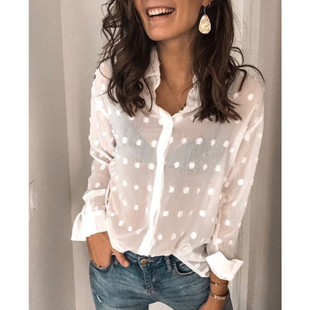 Women Clothing Sexy See Through Polka Dot Solid Long Sleeve Blouse Shirt Ladies Autumn Harajuku Korean Casual Tops Blusa SJ4842M 2