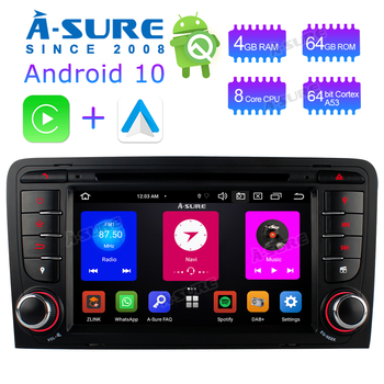 A-Sure 2 Din Car Radio Android 10 PX5 8 Core WIFI 4G+ DVD GPS Player Navigation For Audi A3 S3 RS3 RNSE-UP 8P 8V 8PA 2003-2011 image