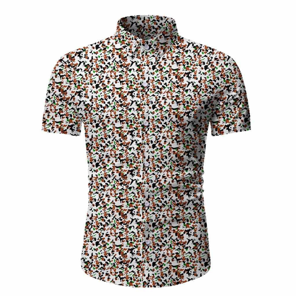 남성 캐주얼 여름 프린트 버튼 반팔 하와이 탑 블라우스 셔츠 한국 легкое белое платье camisas sociais masculinas