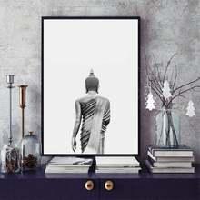 Черно белая статуя Будды Настенная живопись холст современный