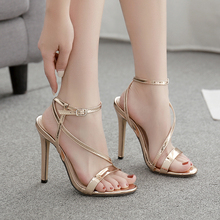 Women Sandals Gold Shoes Open Toe Sexy Nightclub Party