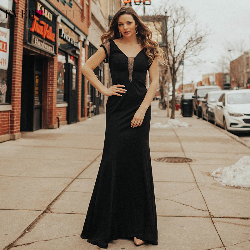 Vestidos De Gala Ever Pretty Black Prom Dresses Long Double V-Neck Short Sleeve Sexy Little Mermaid Dress For Party Abiye 2019