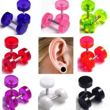 2Pcs Transparent Acrylicl Cheater Faux Fake Ear Plugs Flesh Tunnel Gauges Tapers Stretcher Earring 2pc white black stainless steel cheater faux fake ear plugs flesh tunnel gauges tapers stretcher earring