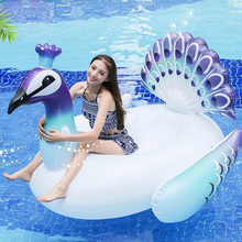 150CM Giant Inflatable Flamingo Peacock Pool Float Ride-On Swimming Water Mattress Party Toys 150cm giant rose gold flamingo pool float ride on swimming ring beach lounger floats adult summer water party inflatable toys