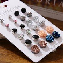 12 pairs/set 2019 Neue Mode Kristall Ohrringe Set für Frauen Elegante Rose Blume Stud Ohrring kit Brincos Schmuck zubehör