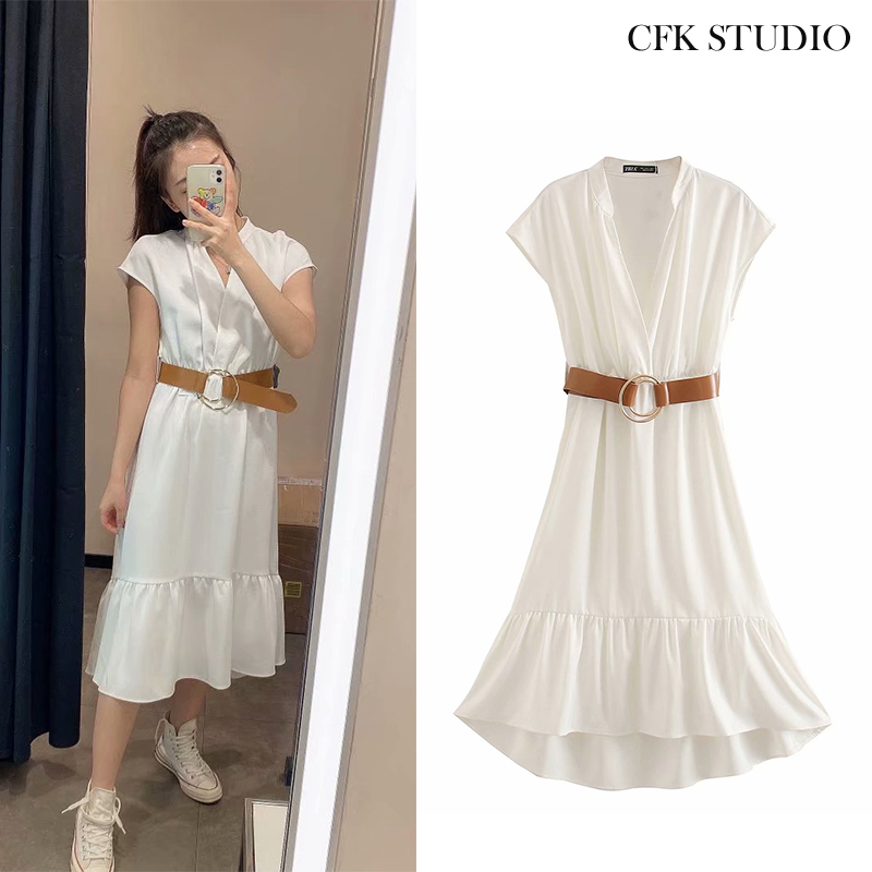 ZA  Women Casual Loose Mididress With Belt Solid Short Sleeve Shirtdress White Loose Dress