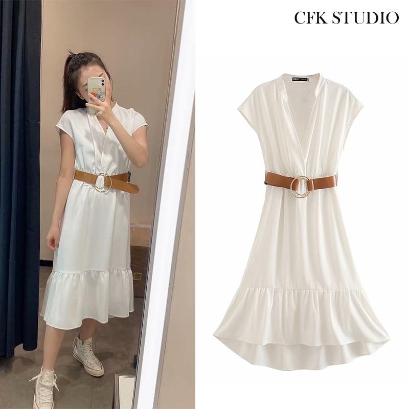 ZA  Women Casual Loose Mididress With Belt Solid Short Sleeve Shirtdress White Loose Dress