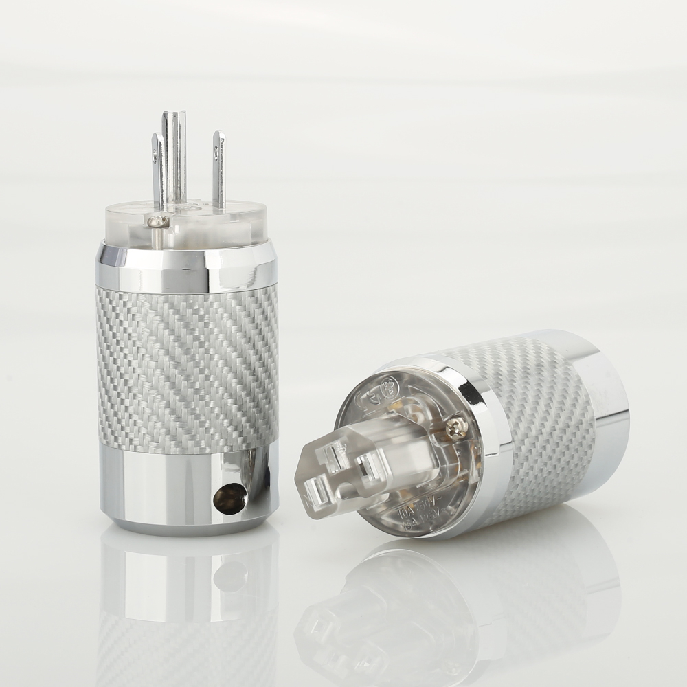 HI-End Carbon Fiber Rhodium Plated US Power Plug IEC Connector Pair