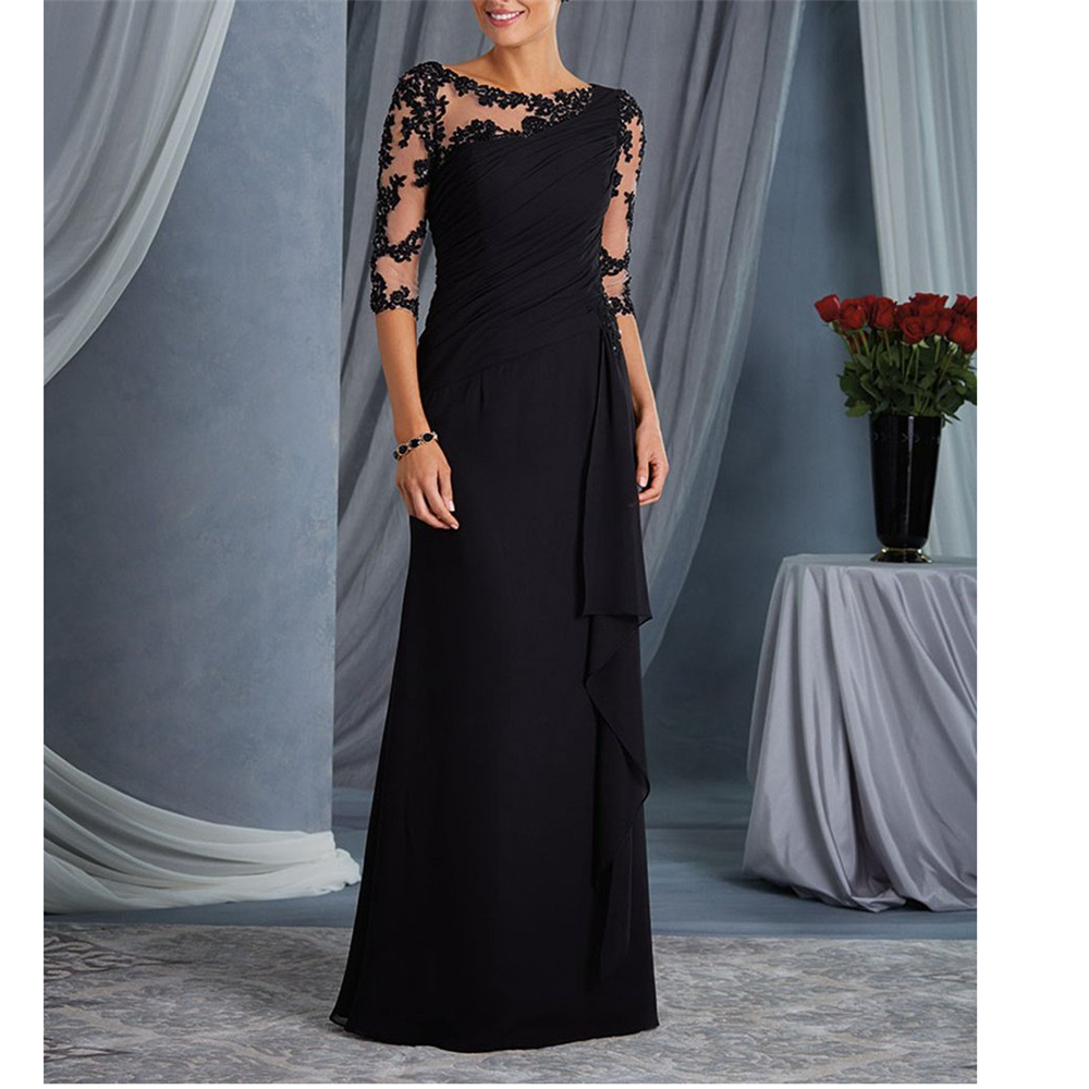 Fantastic Black Chiffon Half Sleeves Appliques Ruffles Simple Full-Length Custom-Made Mother Dress Dinner Dresses
