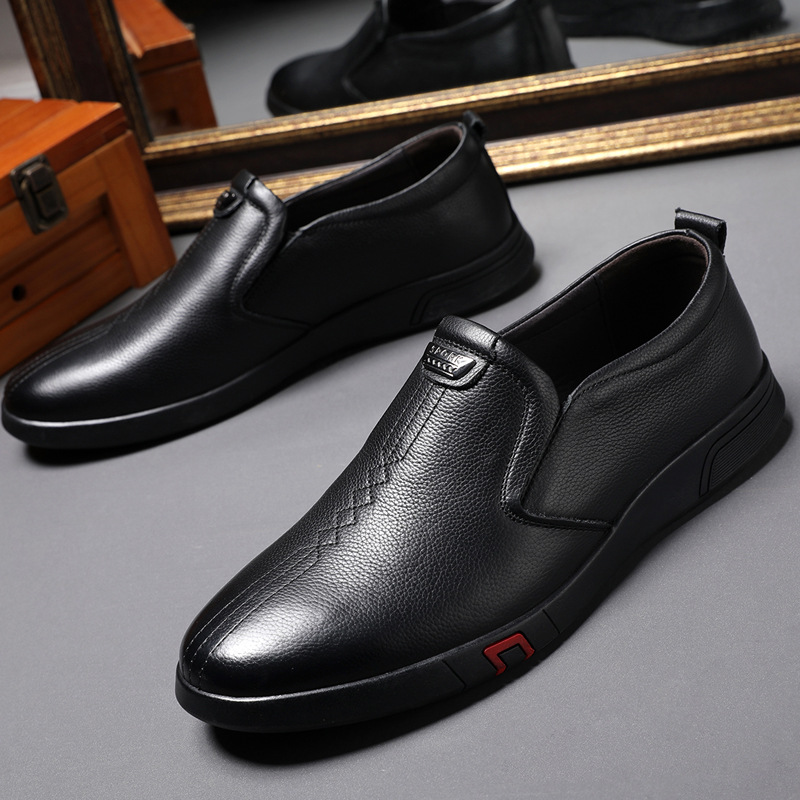 100% Genuine Leather Men Shoes Black Cowhide Loafers Men Casual Shoes Slip On Male Footwear Soft Comfortable KA1971