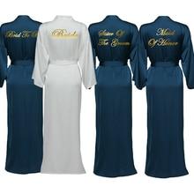 Silk Satin Long Lace Robes Bridesmaid Robes Bride Robe Long Sleeve Custom Robe Women Long Wedding Bathrobe Navy Blue