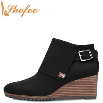 Black Ankle Boots High Wedge Heels Round Toe Woman Zip Large Size 13 15 Ladies Winter Fashion Buckle Mature Booties Shoes Shofoo фото