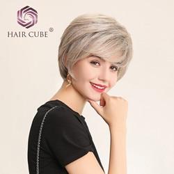Haircube Parrucche Anteriori Del Merletto Sintetico 6 Pollici Dei Capelli Umani di 50% Misto Pixie Cut Parrucca di Capelli Corti con Linea Sottile Naturale per delle donne 4 Colori