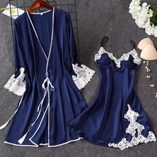 Pajamas Nightwear Kimono Sleepwear-Sets Bath-Gown Top-Suit Strap Sexy Casual Summer Women