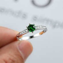 Cute Female Green Zircon Stone Ring Promise Silver Color Thin Engagement Rings For Women Trendy Crystal Round Wedding Ring