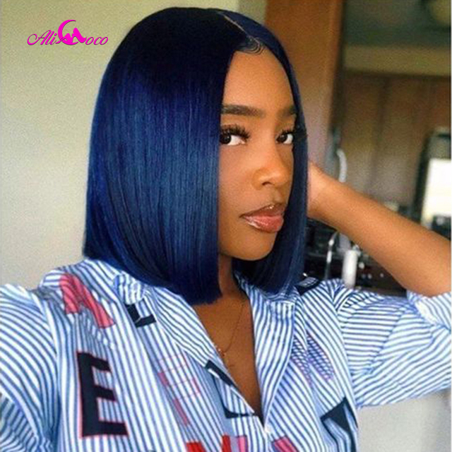 $ US $51.76 Ali Coco Blue Short Lace Front Human Hair Wigs Brazilian Straight Remy Ombre Bob Wig 1B/27 30 99j Purple Blue Lace Front Wigs