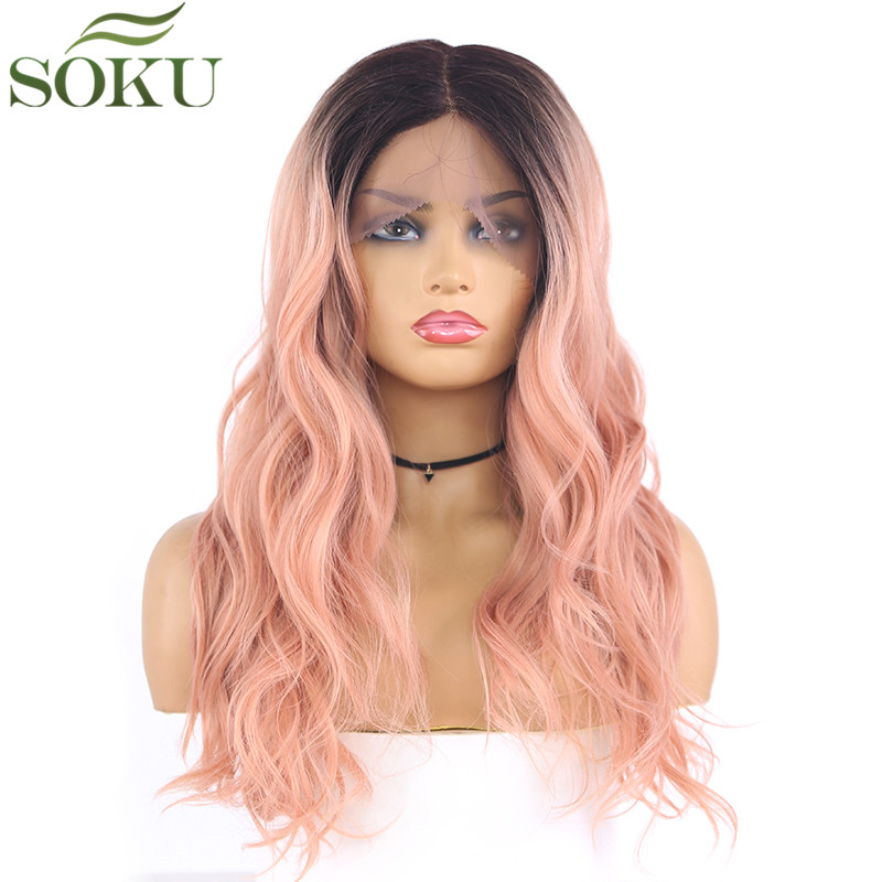 13x4 Ombre Synthetic Lace Front Wigs For Black Women Long Wave L Part Wig High Temperature Fiber Ombre Grey Hair Wigs
