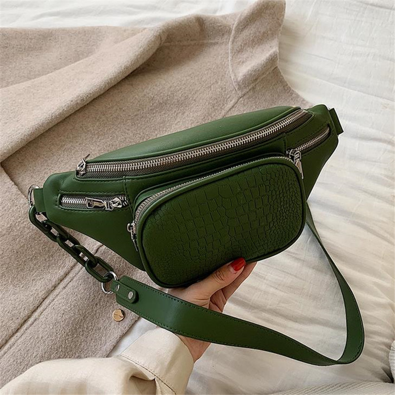 Fashion Waist Bags For Women Stone Pattern Leather Chain Waist Bag Belt Leisure Chest Pack Women Satchel Belly Band Belt Bag 40#