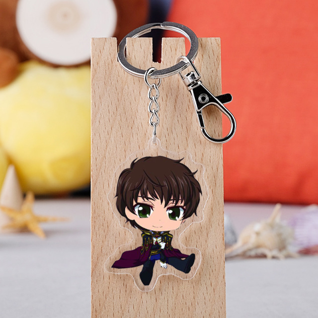 10 pcs/lot Anime Code Geass Acrylic Keychain Toy Lelouch of the Rebellion Figure Bag Pendant Double sided Key Ring Gifts 3