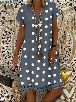 plus size 5xl DOT cotton linen women dresses casual loose lady linen dress summer women linen clothes original brand hot design 1