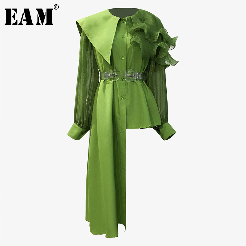 [EAM] Women Ruffles Asymmetrical Blouse New Round Neck Long Sleeve Loose Fit Shirt Fashion Tide Spring Autumn 2020 1T317