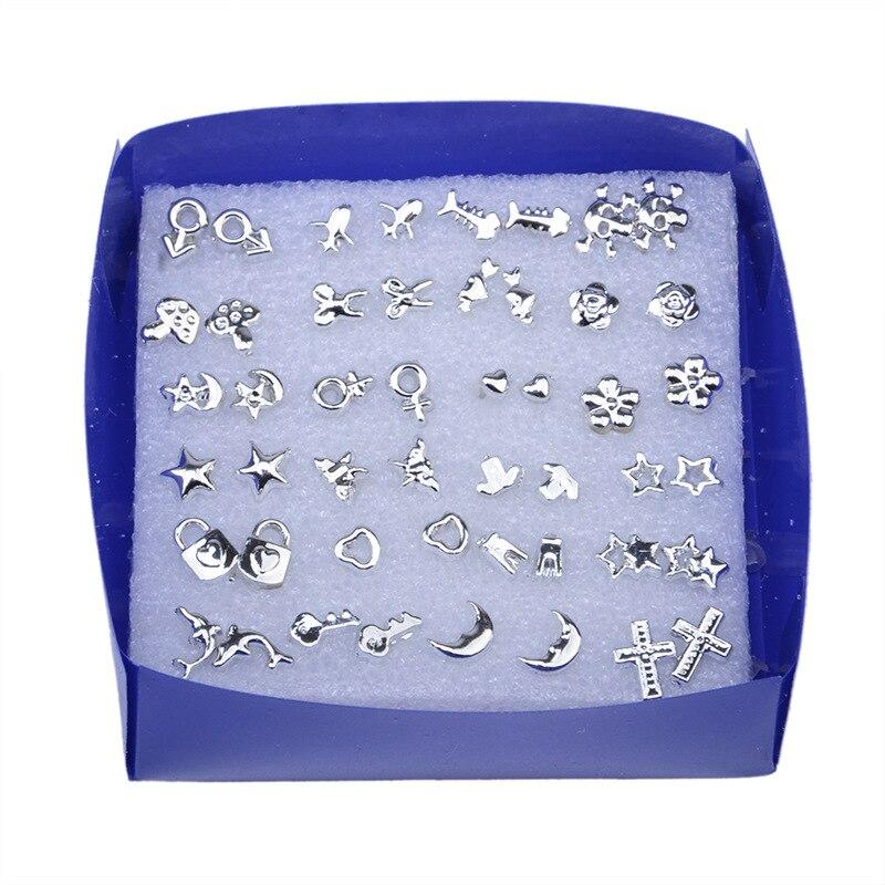 24 Pair/ Set Wholesale Silver Fashion Unisex Mix Styles Stud Earrings Women Men Metal Plated Stud Earrings Jewelry