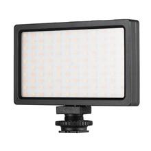 Diodo emissor de luz de vídeo painel on camera 3200k 5600k lâmpada regulável brilho ajustável flash luz com sapata fria montagem para fotografia