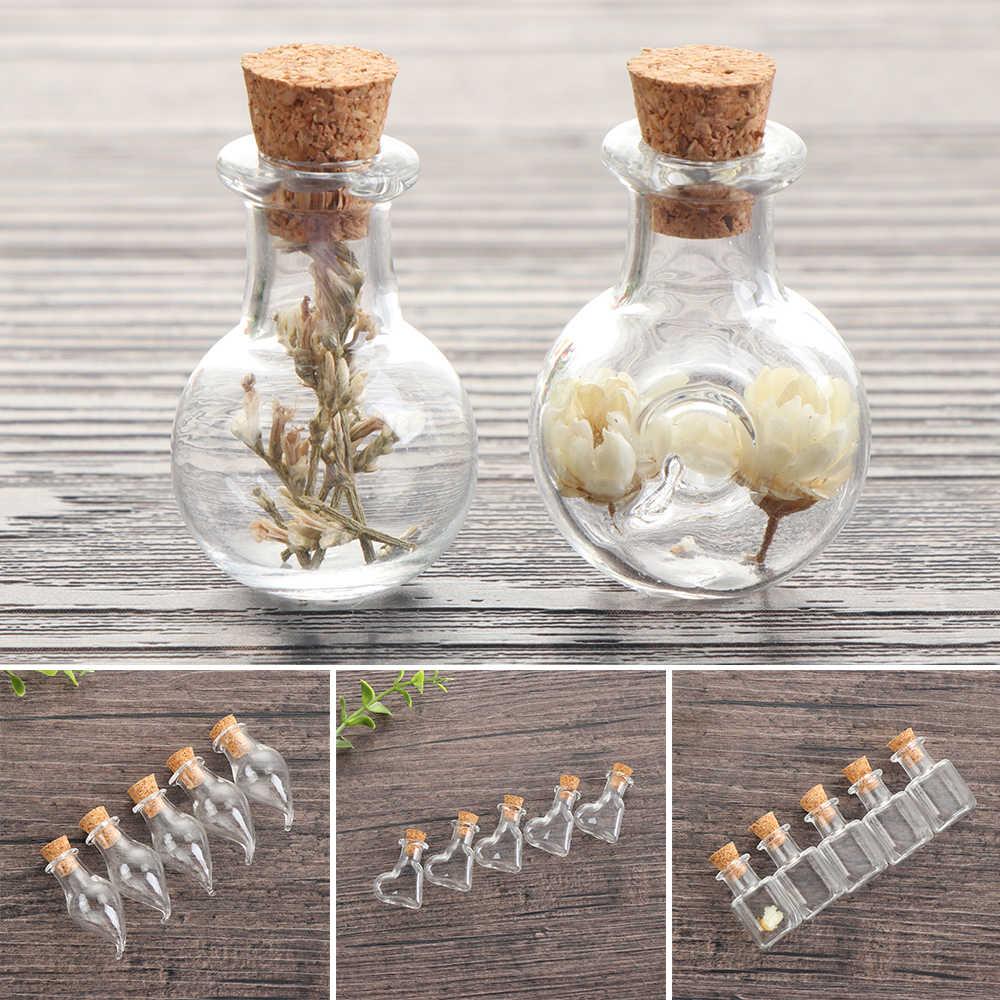 5 sztuk mini szklane butelka życzeń korek puste buteleczki na próbki DIY wisiorki do przechowywania fiolki ślubne akcesoria do dekoracji domu