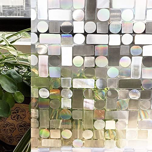 Privacy Window Film No-Glue Self Adhesive 3D Static Decorative Glass Cling Stickers for Home Kitchen Office Anti-UV 2