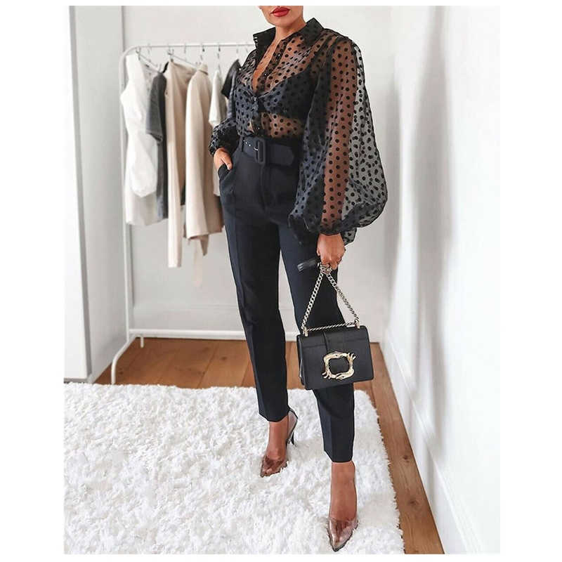 2019 Fashion Trend vrouwen Hot Summer Sexy Sheer Mesh Lange Puff Mouwen See Through Tops Blouse Unieke Ontwerp Club party Kleding
