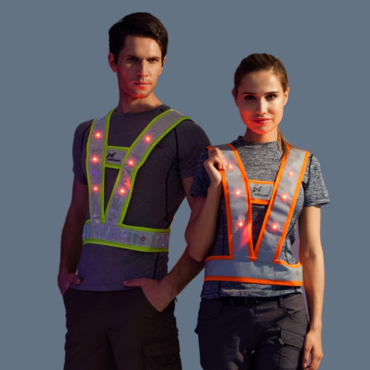 LED Sanitation Work Reflective Vest V-Shaped Reflective Shining Waistcoat Clothes For Sanitation Workers Rescuing Disaster Relie